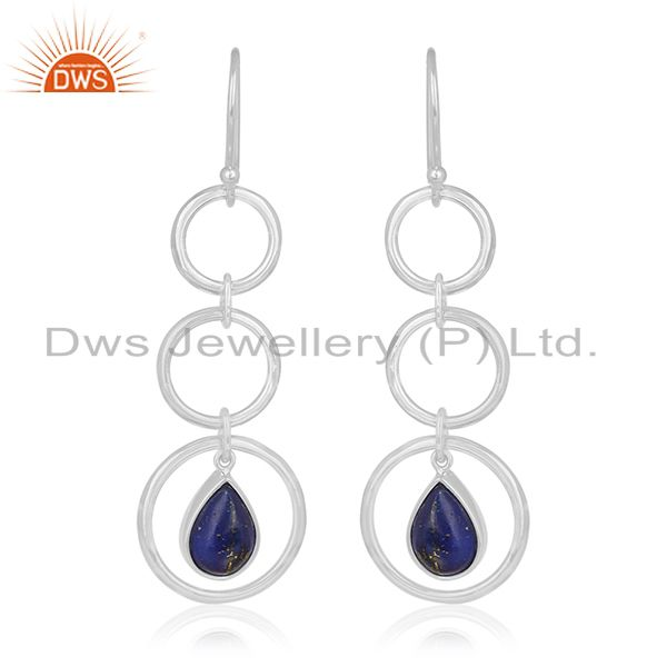 Private Label Lapis Lazuli Gemstone Sterling Silver Earring Jewelry Manufacturer