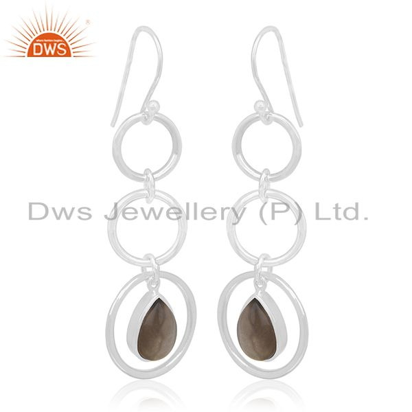 Smoky Quartz Designer Sterling Silver Customized Earring Manufacturer From India