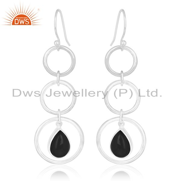 Round Circle Sterling Silver Onyx Black Gemstone Earring For Retailers