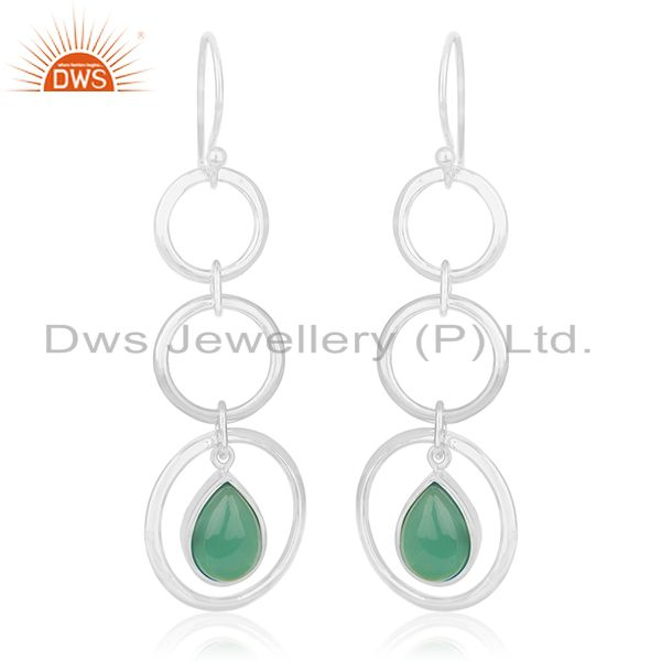 Genuine 925 Silver Jaipur Gemstone Dangle Earring Manufacturer of Custom Jewelry