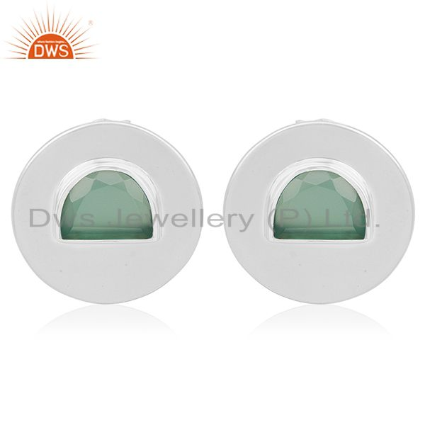Green Onyx Gemstone 925 Silver Round Stud Earrings Manufacturer from India