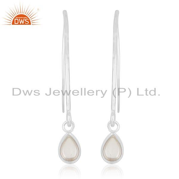 Crystal Quartz 925 Sterling Silver Dangle Earrings Custom Jewelry Manufacturer