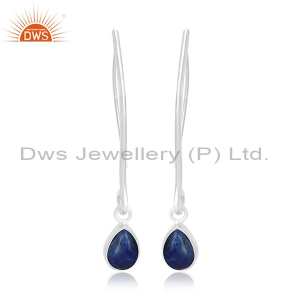 Natural Lapis Lazuli Gemstone Party Wear Silver Earring Jewelry