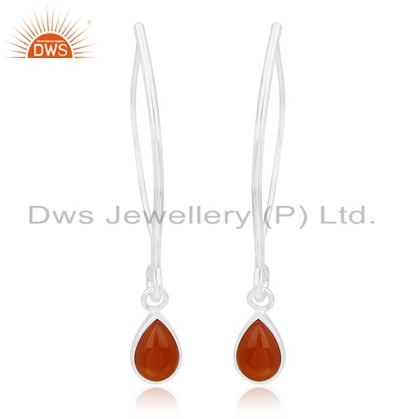 Red Onyx Gemstone 925 Sterling Silver Dangle Earrings Wholesale Suppliers Jaipur