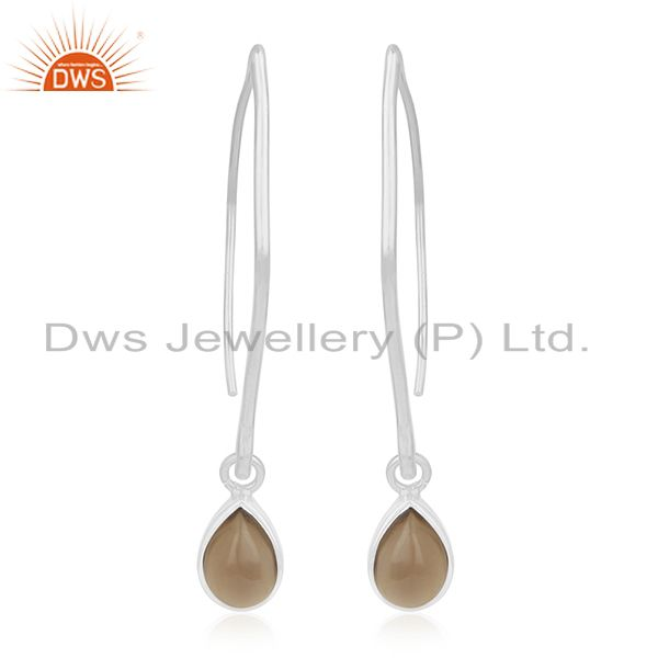 92.5 Sterling Silver Smoky Quartz Gemstone Dangle Earrings Private Label Jewelry