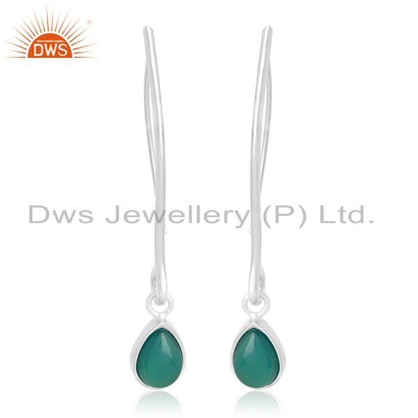 Private Label 925 Sterling Silver Green Onyx Gemstone Earrings Manufacturers