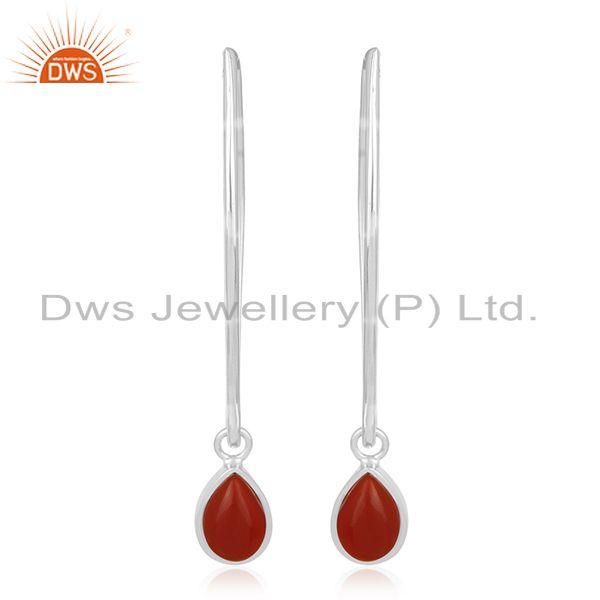 Custom 925 Sterling Silver Red Onyx Gemstone Jewelry Earrings Manufacturers