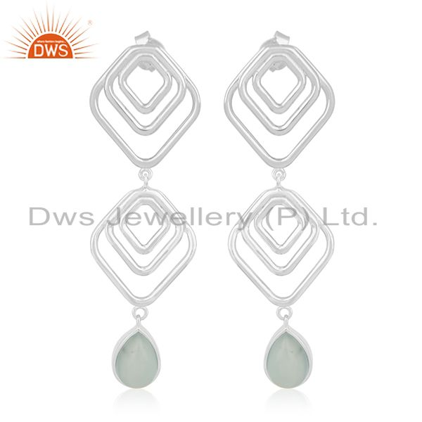 Hammered Sterling Silver Aqua Chalcedony Gemstone Earring For Girls