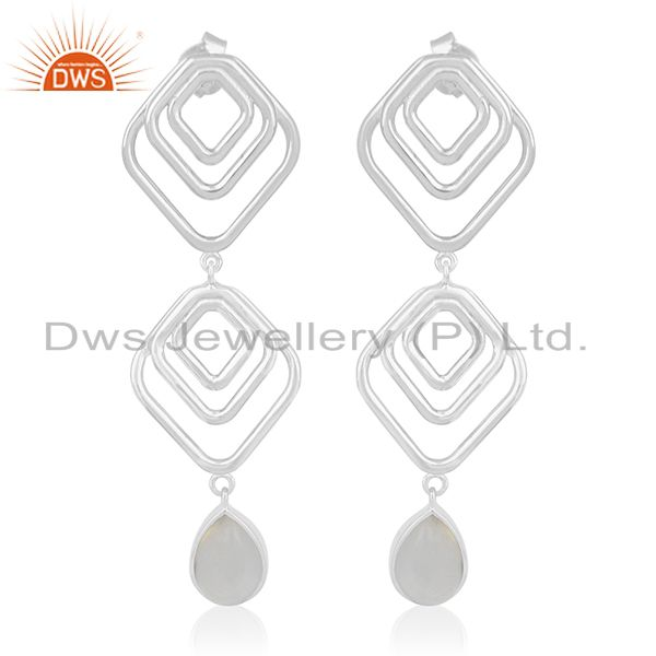 Handmade Sterling 92.5 Silver Chalcedony Gemstone Earring for Women