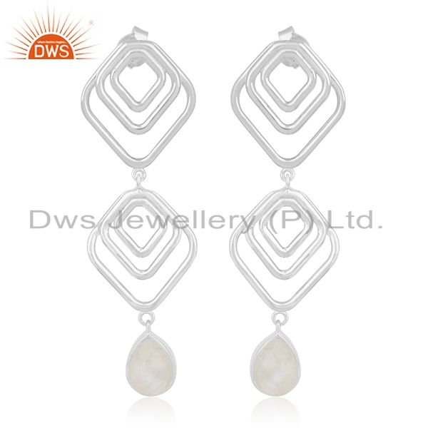 Rainbow Moonstone 925 Silver Handmade Earring Custom Jewelry Supplier