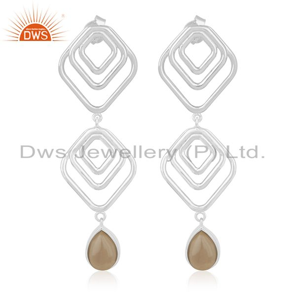Manufacturer of Smoky Quartz Gemstone 925 Silver Women Earrings