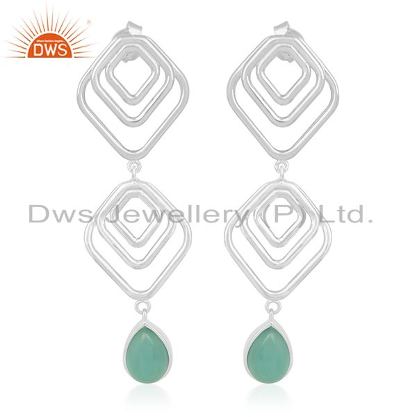 Green Onyx Gemstone Sterling Silver Handmade Earring Jewelry Suppliers