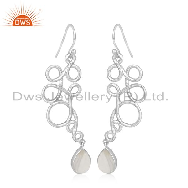 925 Sterling Silver Handmade Chalcedony Gemstone Earring Manufacturer from India