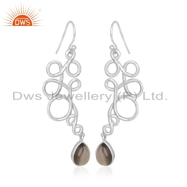Smoky Quartz Handmade 925 Sterling Sivler Earrings Wholesale