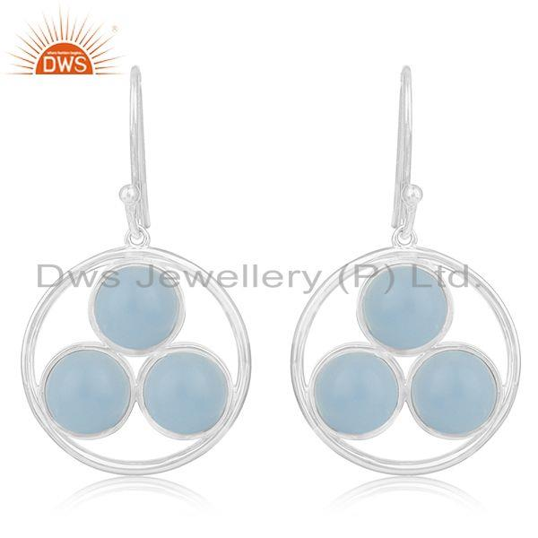 Blue Chalcedony Gemstone Handmade Circle Design 925 Silver Earrings Jewelry