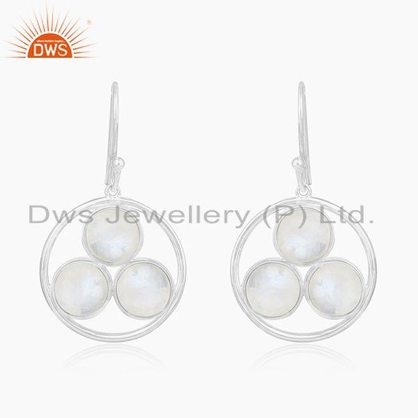 Rainbow Moonstone 925 Sterling Silver Drop Earrings manufacturer India
