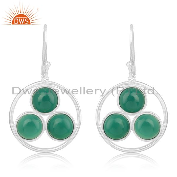 Handmade 925 Sterling Silver Green Onyx Gemstone Earring Manufacturer of Jewelry