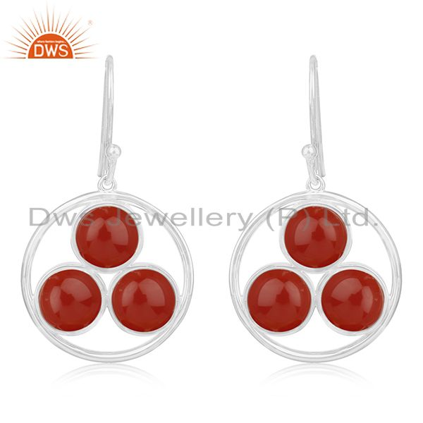 Red Onyx Gemstone Round Handmade 925 Sterling Silver Earring Manufacturer