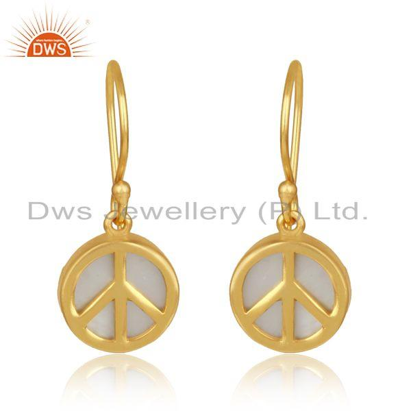 Gold on silver mother of pearl gemstone peace design earrings