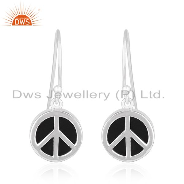 92.5 Sterling Fine Silver Onyx Gemstone Peace Sign Earring Manufacturer