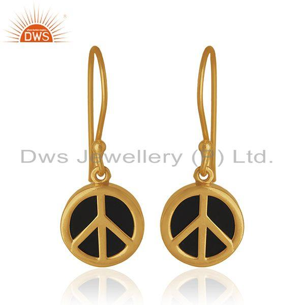 92.5 Sterling Silver Gold Plated Black Onyx Gemstone Peace Design Earrings