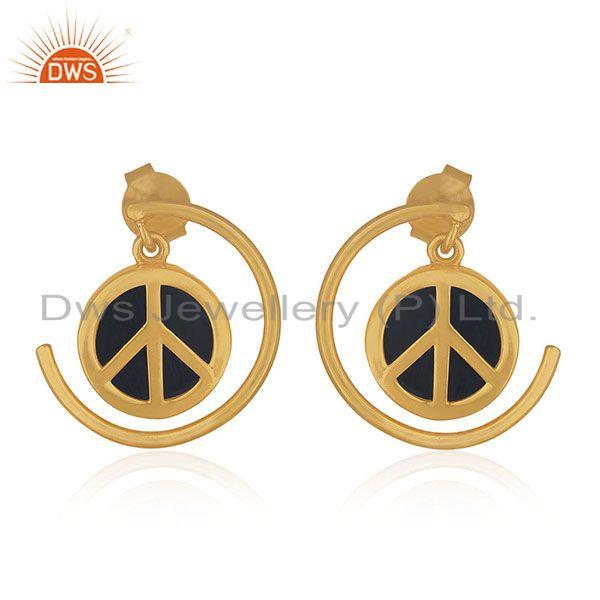 Customized Peace Charm 92.5 Sterling Silver Gemstone Earrings Manufacturer India