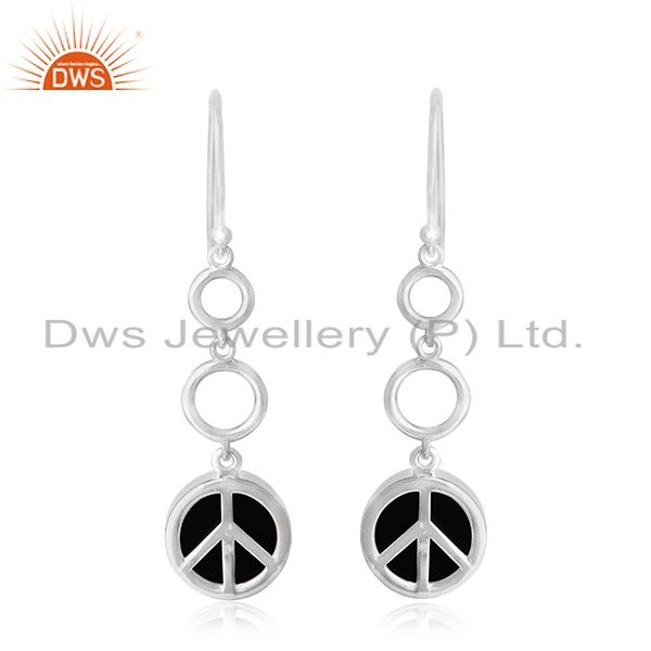 White Rhodium Plated 925 Silver Onyx Gemstone Peace Charm Earring Jewelry