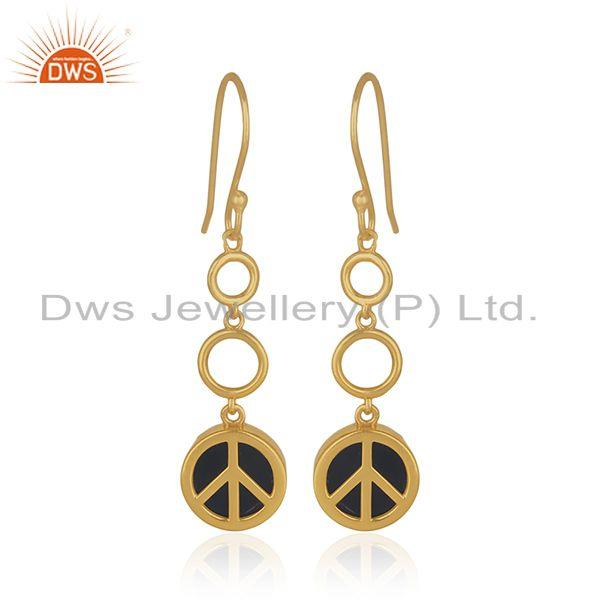 Gold Plated 925 Sterling Silver Black Gemstone Lucky Peace Charm Earrings