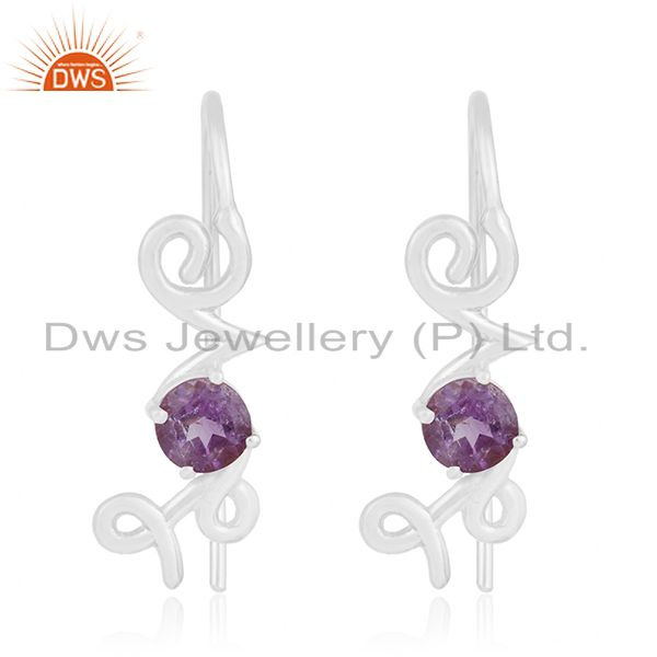 Fine Sterling Silver Love Initial Amethyst Gemstone Earring Wholesale