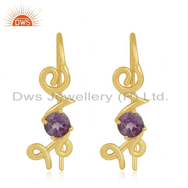 Custom Love Initial 925 Silver Gold Plated February Birthstone Earring Suppliers