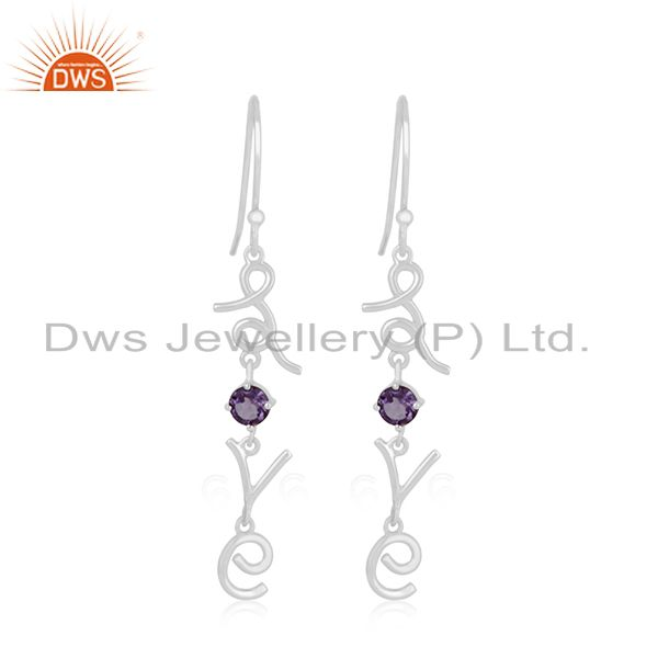 Love initial Sterling 92.5 Silver Gemstone Private Label Earring Manufacturer