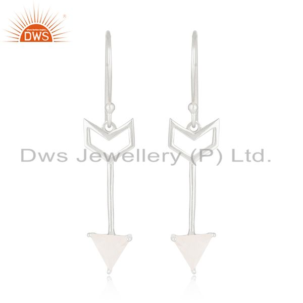 Designer Arrow Shape Sterling Silver Moonstone Custom Earring Manufacturer