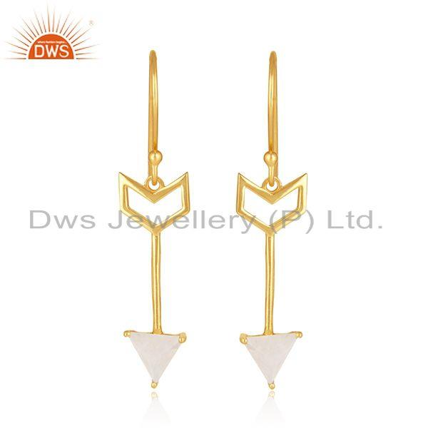 Arrow Desgin 925 Silver Gold Plated Moonstone Dangle Earring Wholesale