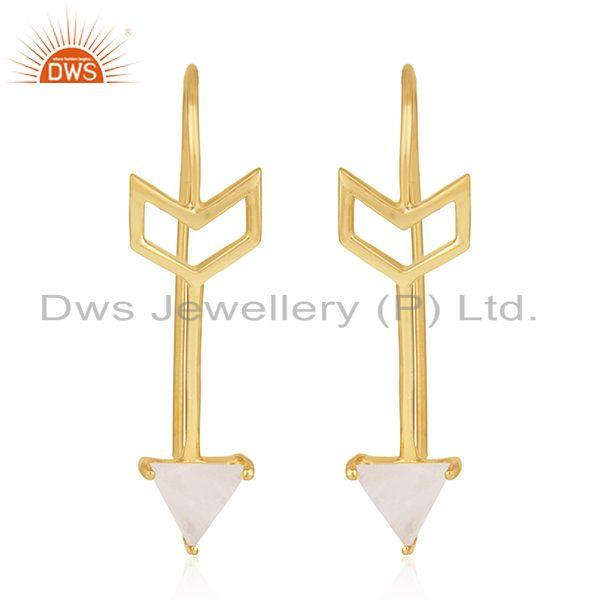 Arrow Design Sterling Silver Rainbow Moonstone Earring Jewelry Wholesale