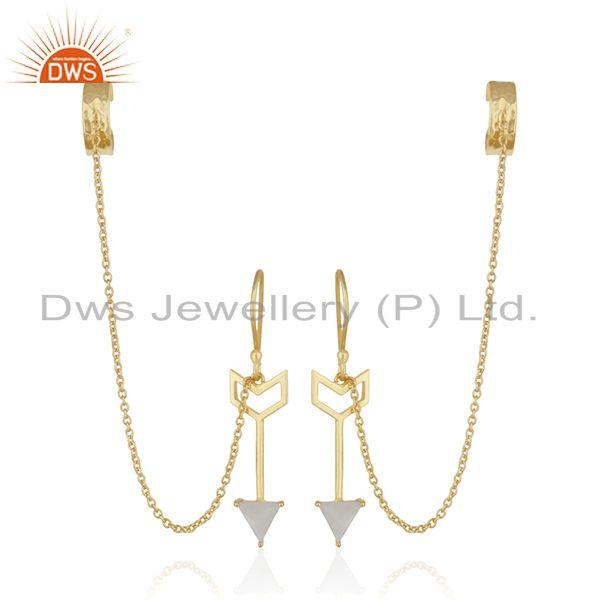 Arrow Design 925 Silver Gold Plated Designer Ear Cuff Earrings Suppliers
