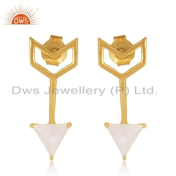 Custom Arrow Shape Gold Plated Sterling Silver Gemstone Earring Manufacturers
