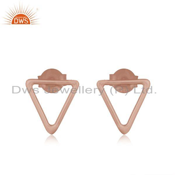 Rose Gold Plated 925 Sterling Silver Triangle Shape Stud Earrings Manufacturer