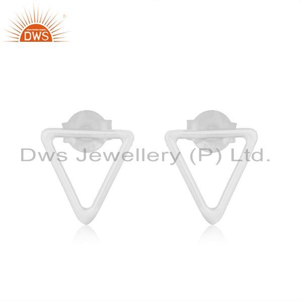 Handmade Triangle Shape 92.5 Sterling Silver Stud Earrings Manufacturers India