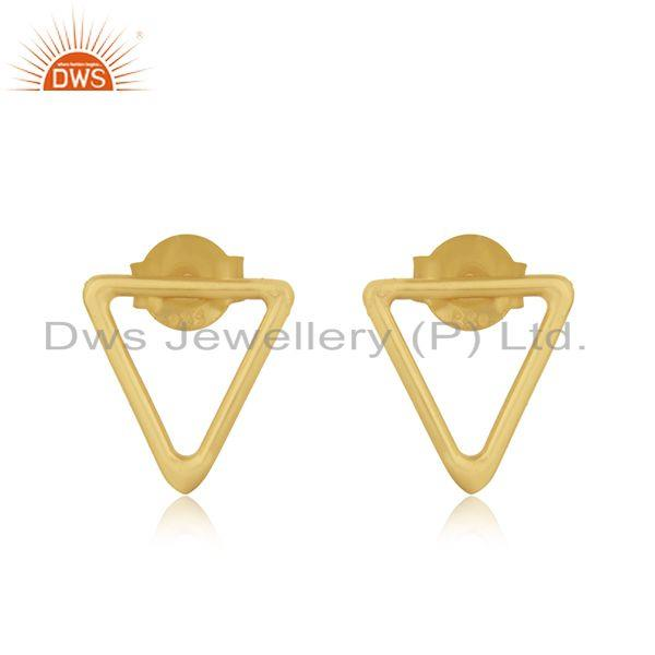 Triangle Shape 925 Sterling Silver Gold Plated Stud Earrings Manufacturer Jaipur