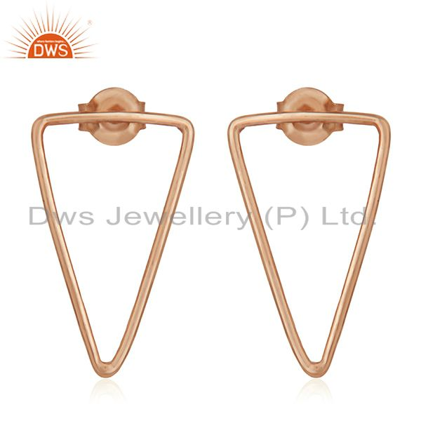 Rose Gold Plated 925 Sterling Silver Triangle Design Earrings Wholesale