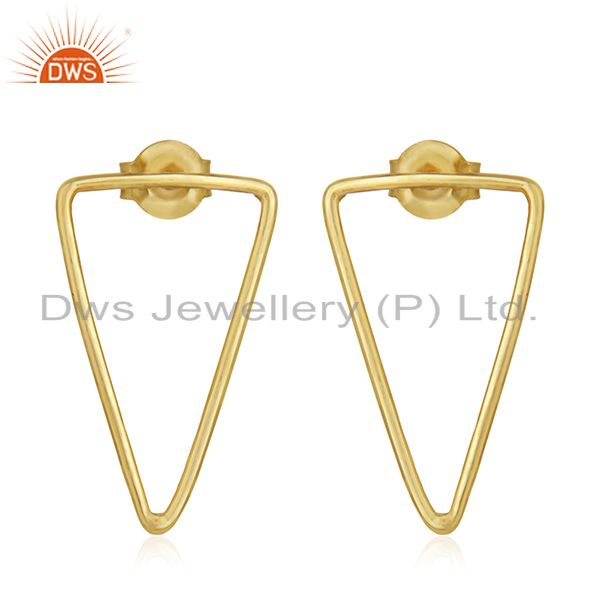 92.5 Sterling Silver 14k Gold Plated Triangle Earrings Wholesale