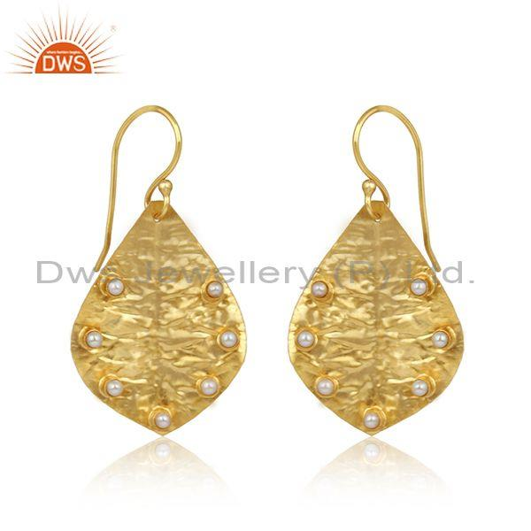 Handmade Leaf Textured Gold on Fashion Pearl Dangle Earring