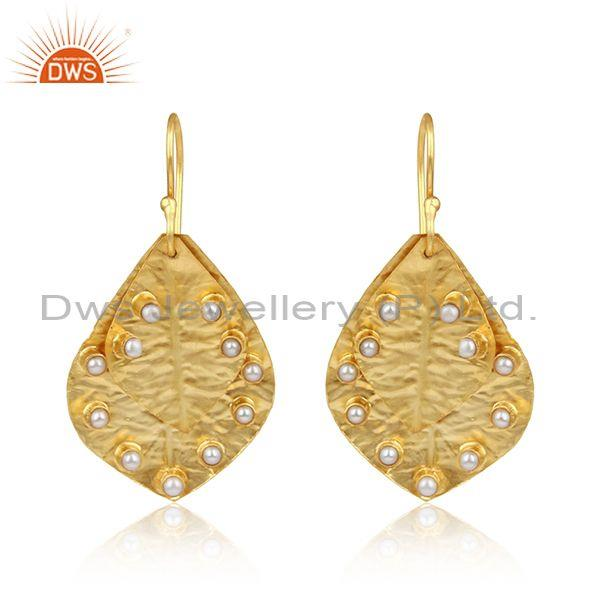 Handtextured Designer Leaf Gold on Fashion Pearl Earring