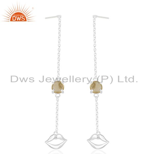 Natural Citrine Gemstone 92.5 Sterling Silver Lip Earrings Manufacturer Jaipur