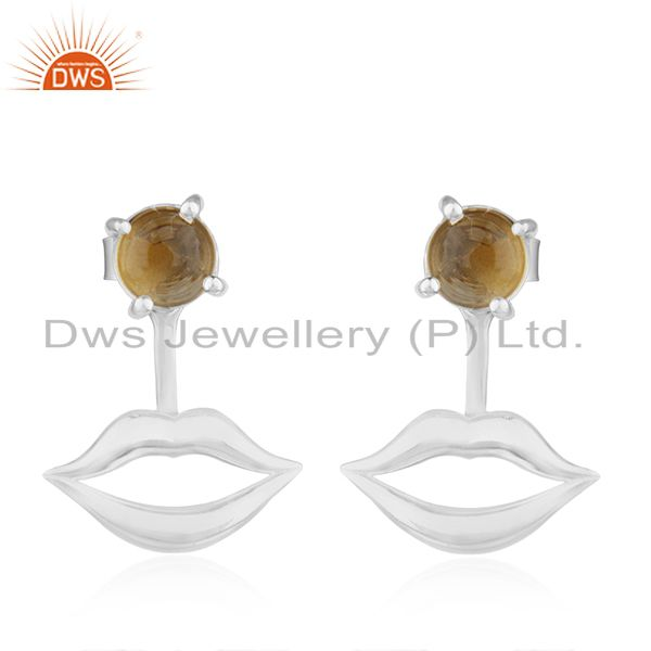 Lip Design 925 Sterling Fine Silver Citrine Gemstone Earring Wholesale