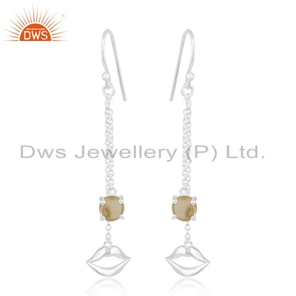 Citrine Gemstone 925 Sterling Silver Lip Design Chain Earrings Wholesale