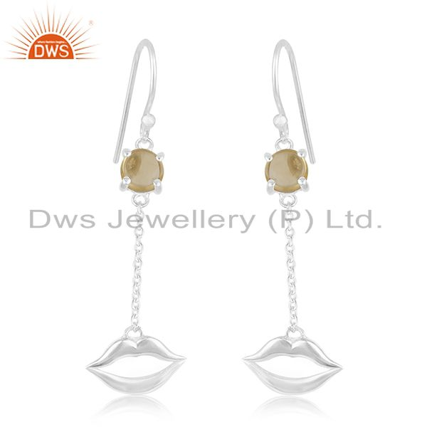 Lip Design 925 Sterling Silver Citrine Gemstone Earrings Wholesale Suppliers
