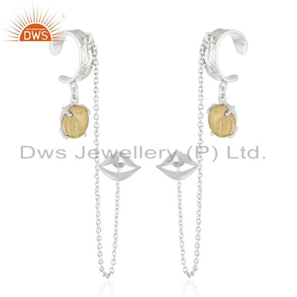 Lip Design Citrine Gemstone 925 Sterling Silver Cuff Earring Manufacturer India