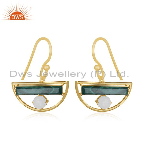 Gold Plated Half Moon Design 925 Silver Malachite Gemstone Earring Manufacturer