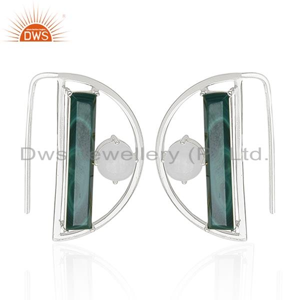Fine 925 Sterling Silver Half Moon Design Multi Gemstone Earring Manufacturers